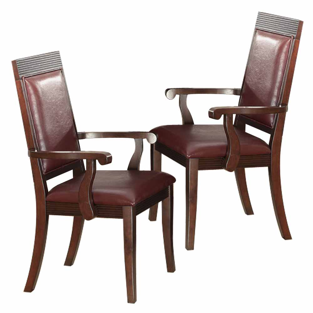 Transitional Set of 2 Dining Arm Chairs Dark Brown Wood Burgundy Faux Leather  eBay