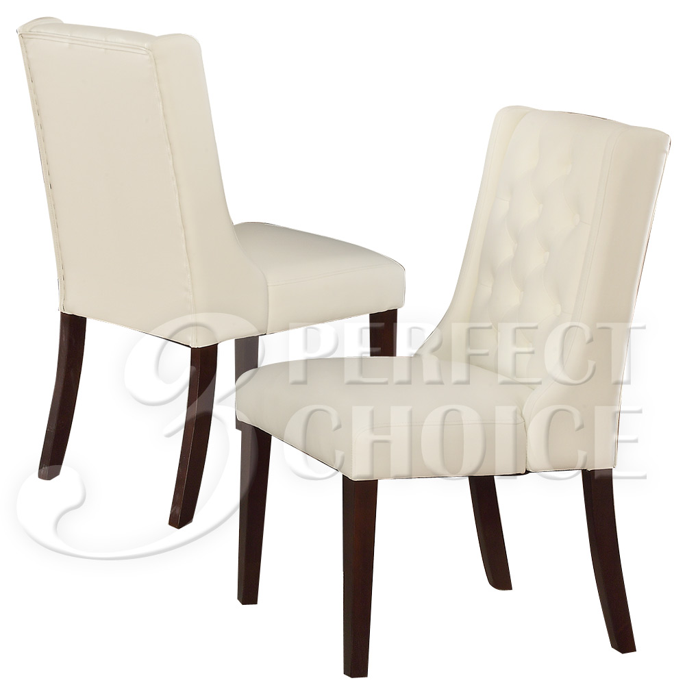 Set of 2 Dining Side Chairs Tufted Back White Comfort