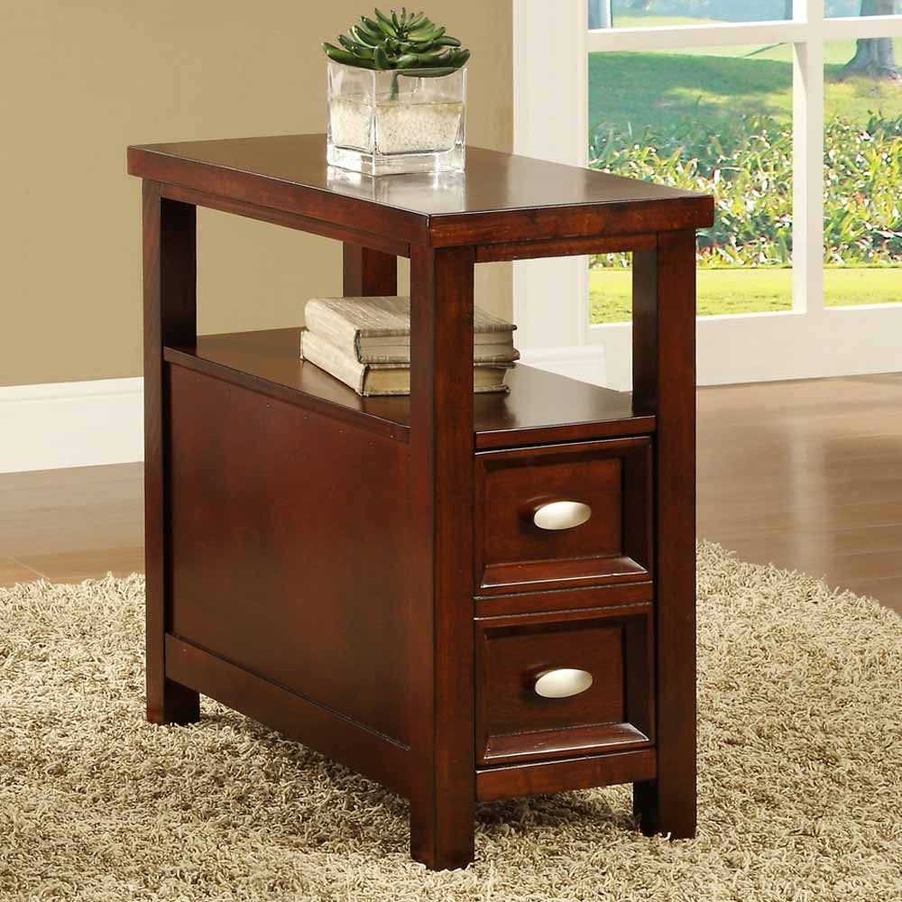Rectangle Sofa Chairside Accent End Snack Tea Table 1 Drawer Black Walnut Cherry  eBay