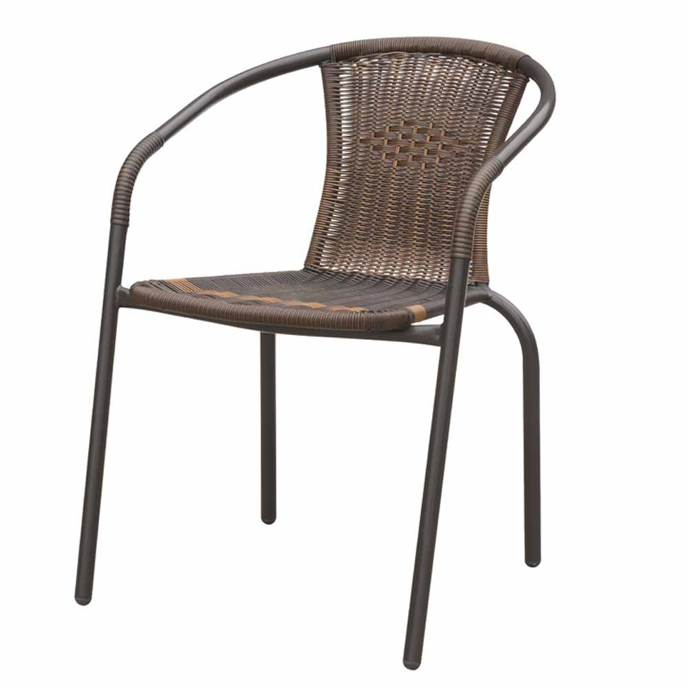 Stylish Stackable Patio Outdoor Chair PE Resin Wicker All Weather Light Weight  eBay