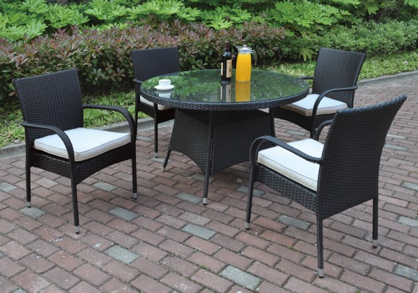 round outdoor wicker patio furniture set 5 pcs Outdoor Patio Dining Set Round Glass Table Black PE Resin Wicker Resistant | eBay