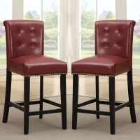 "2 PC Dining High Counter Height Chair Bar Stool 24""H ..."
