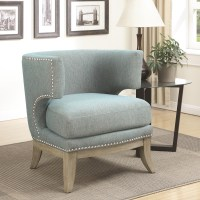 Unique Accent Chair Barrel High Curved Back Nailhead ...