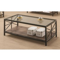 Avondale Living Room Coffee Table Glass Top Wood Shelf ...