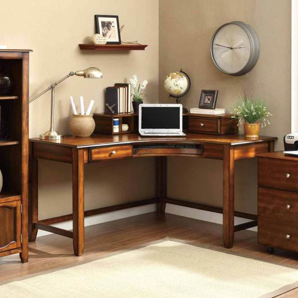 Jacqueline Corner Curved Office Computer Study Desk With Hutch & Drawers Walnut
