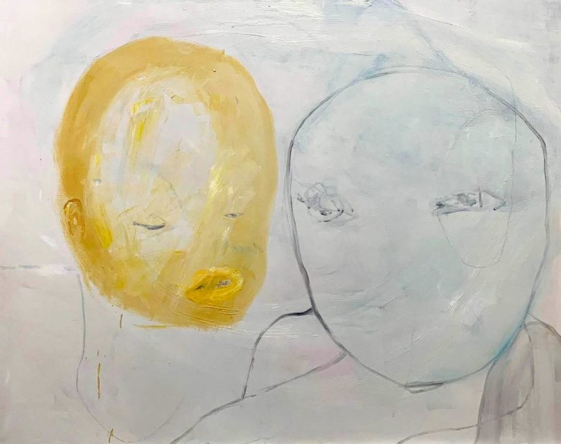 © Yesul LEE, Untitled, 140x110 cm, 2019, oil acrylic, chalk and pencil on canvas