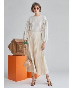 【Mila Owen】フェイクレザーマキシプリーツスカート