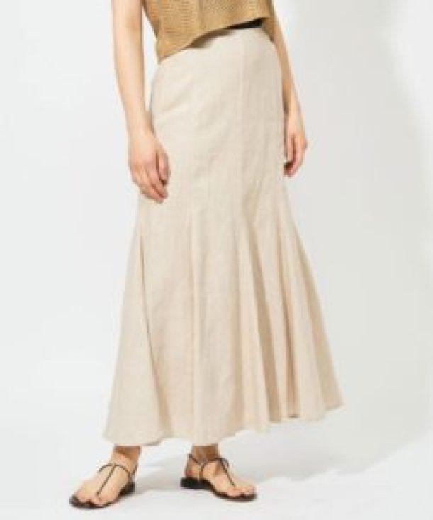 Whim Gazette リネンキャンバススカート ライトベージュ