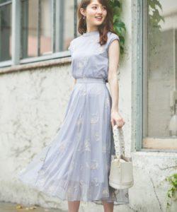Noela/配色刺繍チュールスカート
