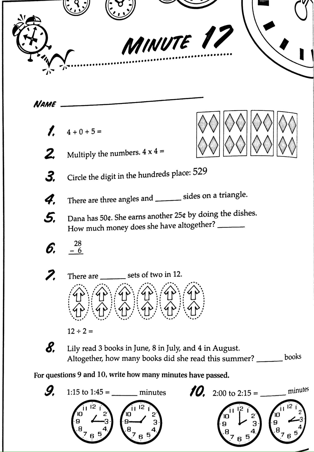 hight resolution of 3rd Grade Math Minutes Worksheets   Printable Worksheets and Activities for  Teachers