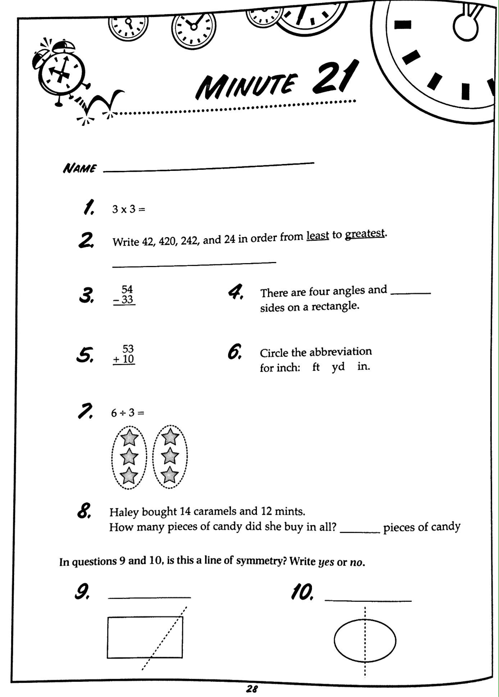 5 Minute Math Worksheet 3rd