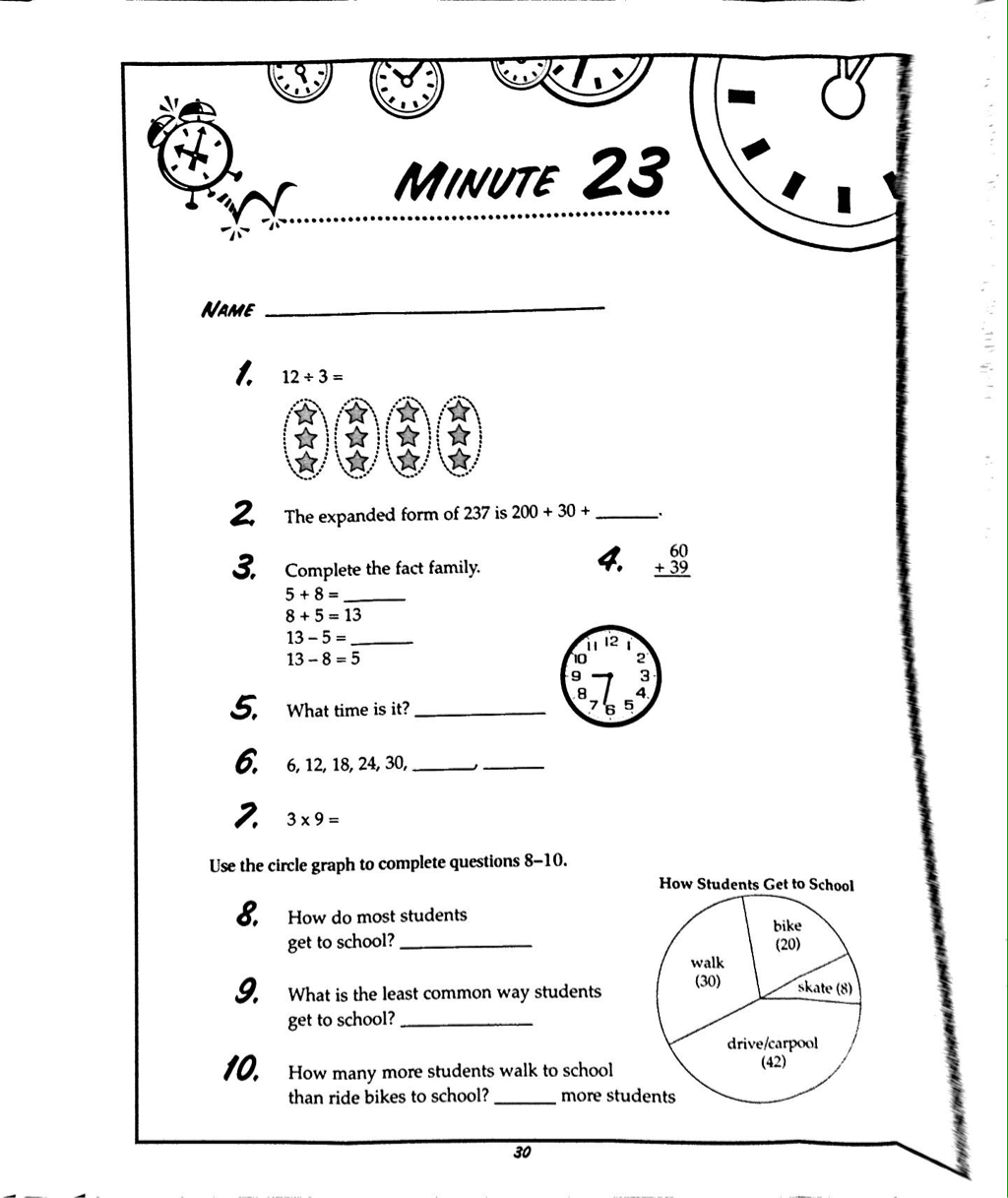 Addition Worksheet 2nd Grade Mad Minute