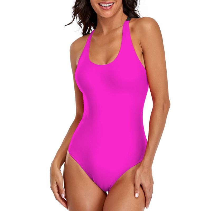 Neon Pink One-piece Swimsuit With Cross strips