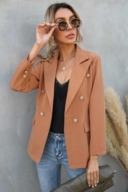 Brown Lapel Double-breasted Casual Blazer Suit TGC fashion