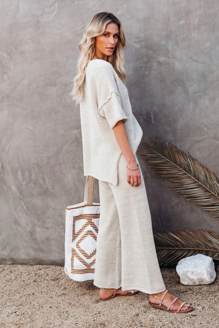 Beige Cotton Blend Relaxed Top and High Rise Pants Lounge Set by TGC FASHION