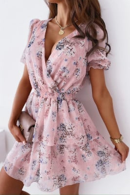 White Wrap V Neck Tiered Ruffle Floral Dress