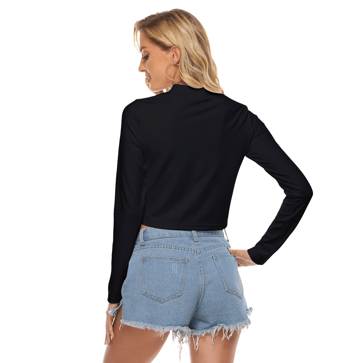 Hallow chest tight crop top black TGC fashion 3rdpartypeople.com back