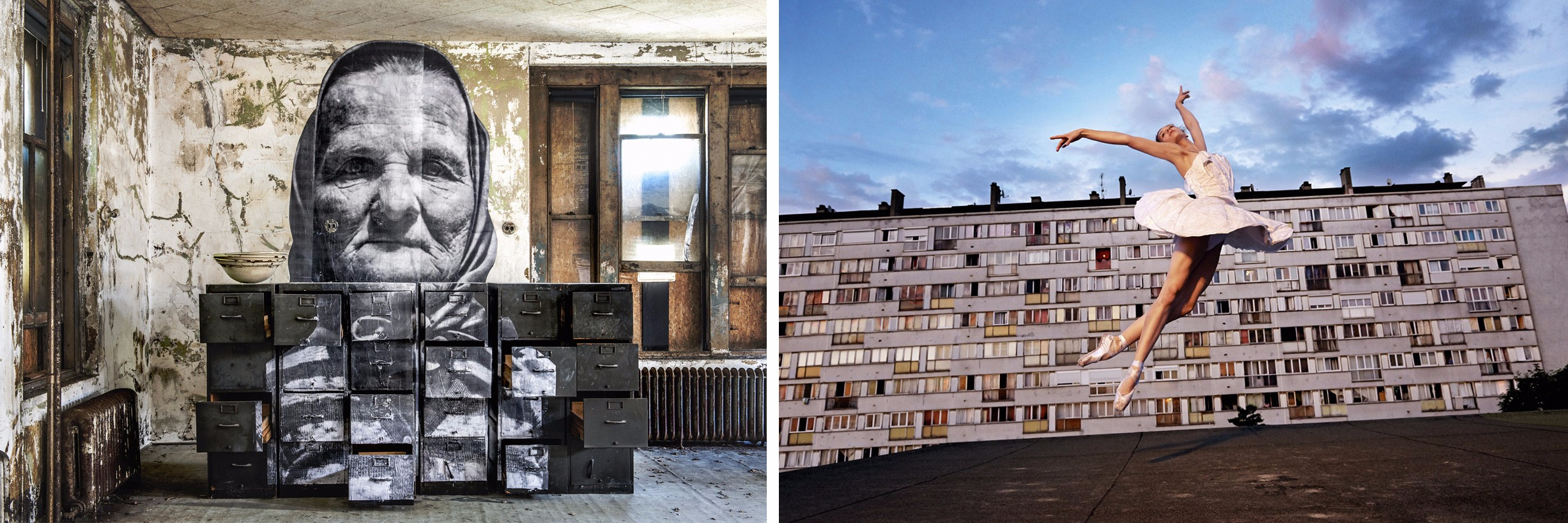 A photo from The Unframed Ellis Island Project (left) and the Les Bosquets series by JR.