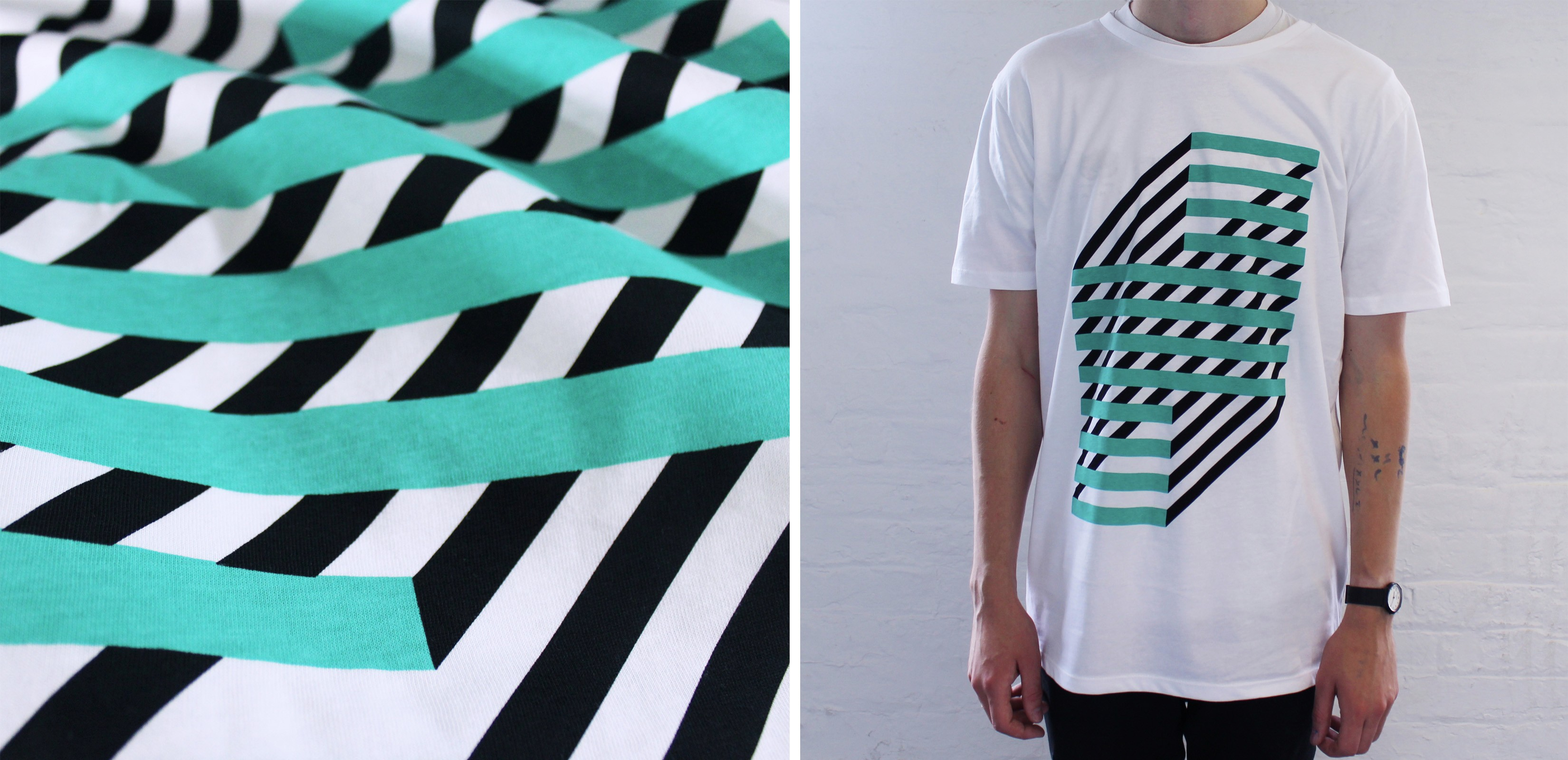 Screen printed t-shirt with graphic pattern