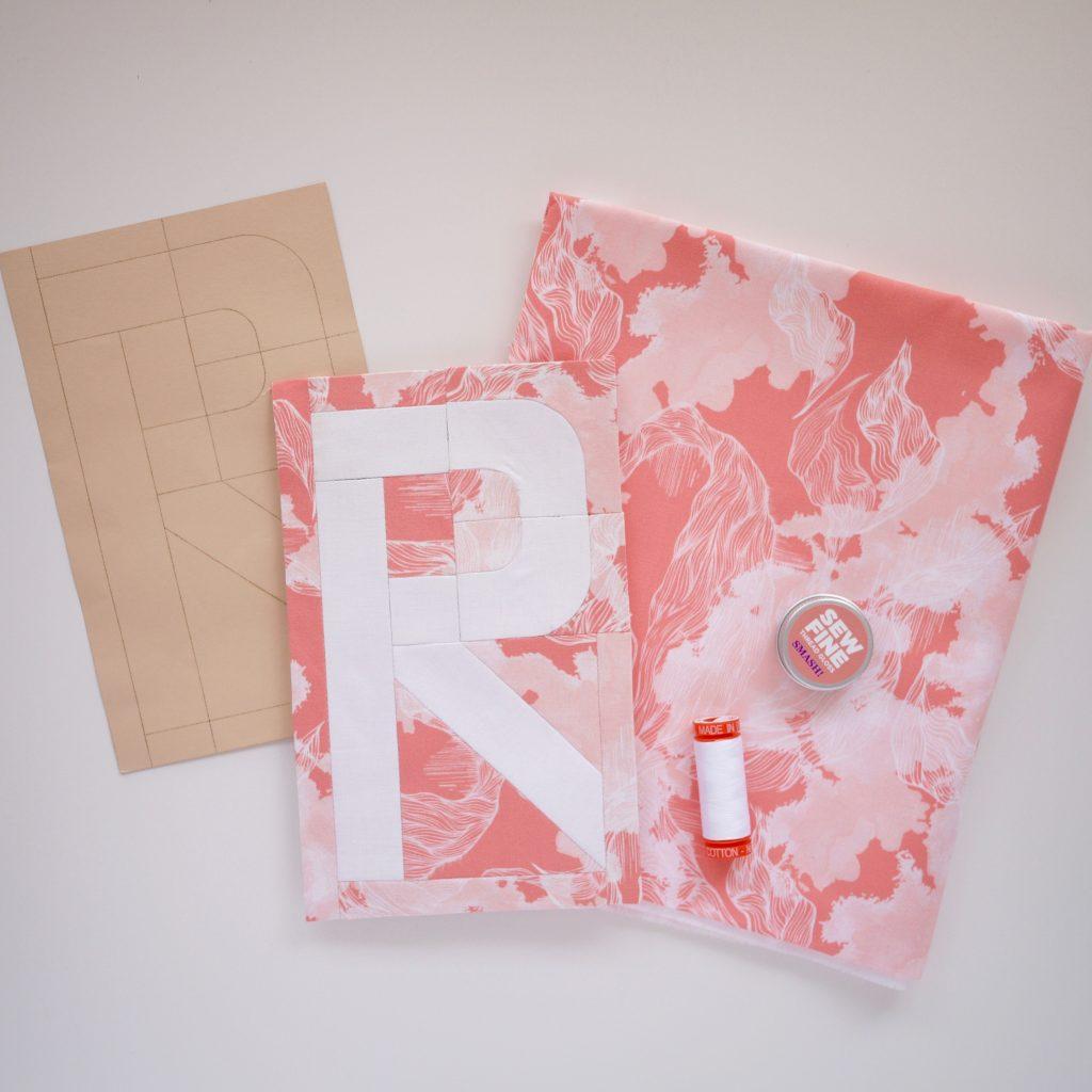Typecast R, typography quilt block
