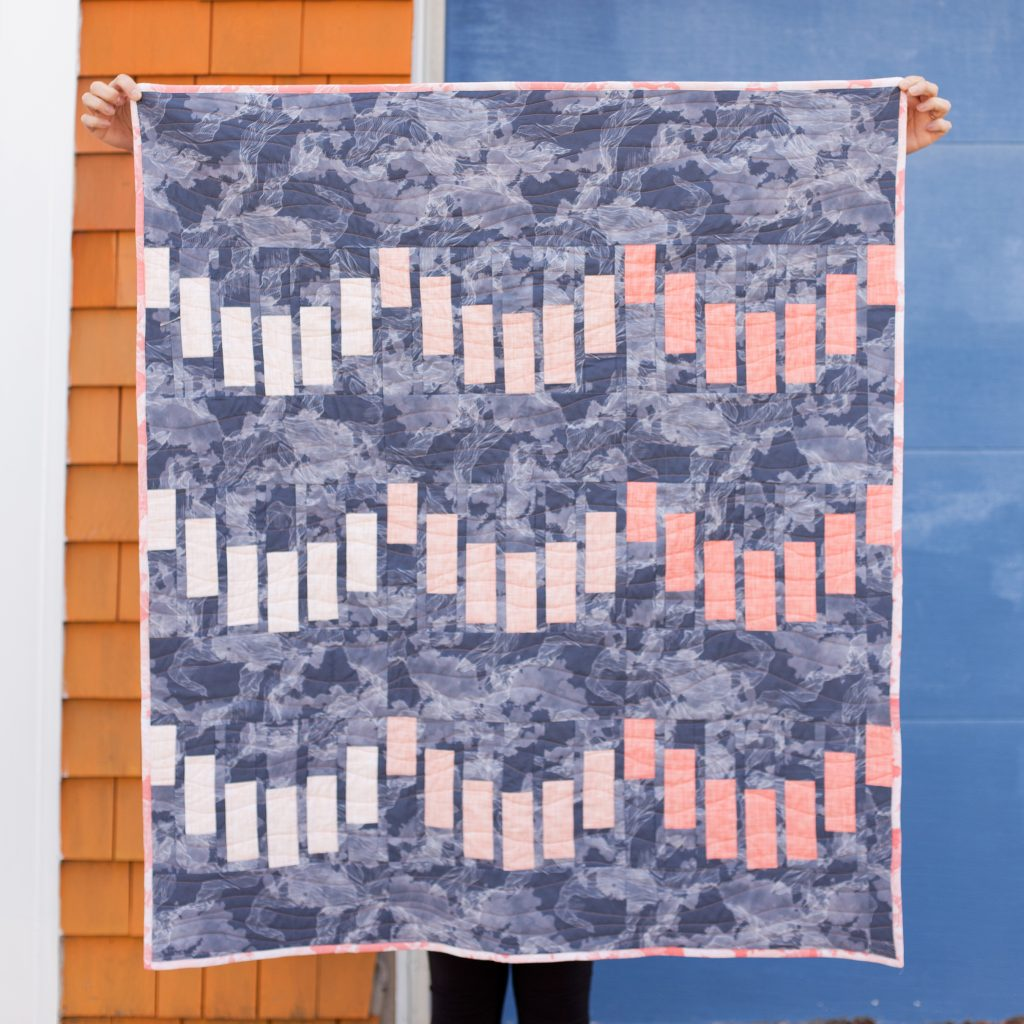 Modern quilt pattern with Spoonflower fabric