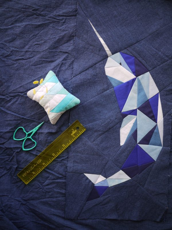Dancing Narwhal Pattern, Foundation Paper Piecing Pattern, 3rd Story Workshop