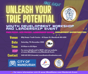 """The """"3RealMatesYouth Development Workshop and Leadership Event."""" is proudly being hosted by City of Mandurah with the help of StudentsLink Academy!"""