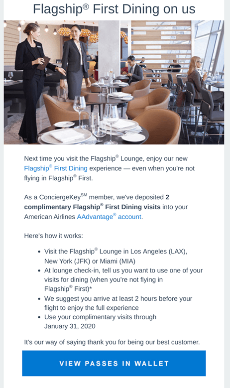conciergekey members are being invited to try first dining