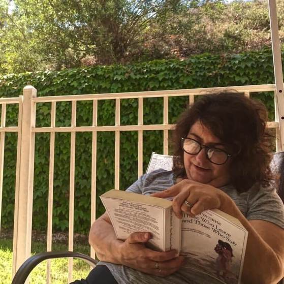 reading on the patio