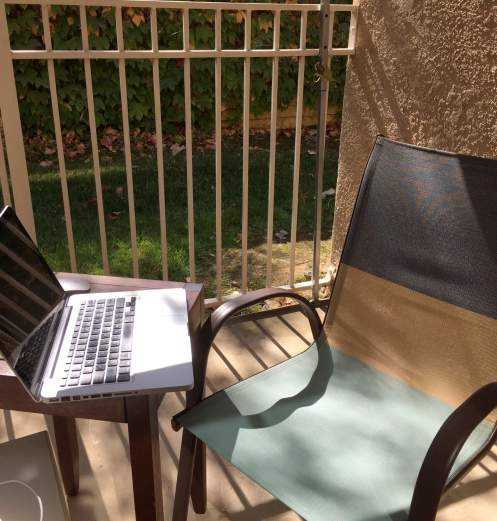blogging on the patio