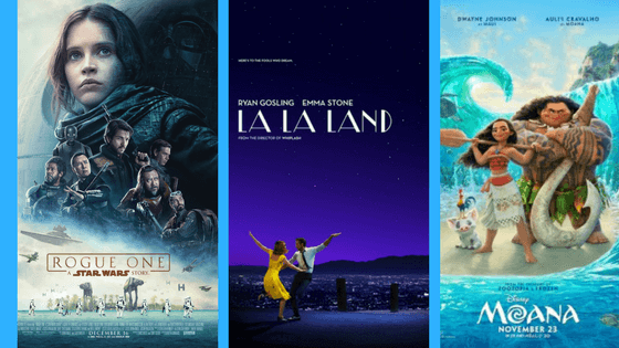 movies: rogue one, la la land, moana