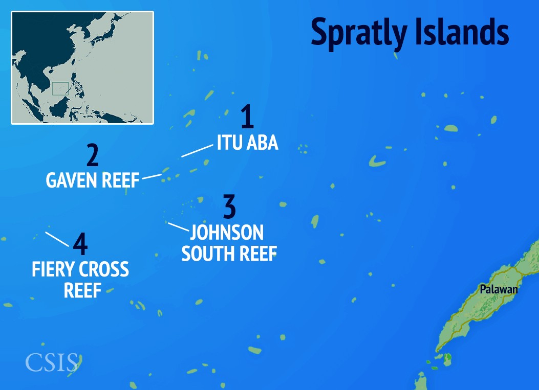 An overview of the Spratly Islands and rival claims.