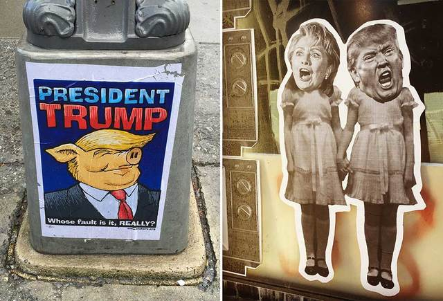 MCCLATCHY / TRIBUNE NEWS SERVICE                                 Street art of Donald Trump, left, in Washington, D.C., on June 3, reflects on the election. Street art pokes fun at the 2016 election, right, by imagining presidential candidates Hillary Clinton and Donald Trump as the frightening twins in the 1980 thriller, The Shining.