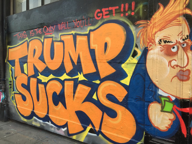 MCCLATCHY / TRIBUNE NEWS SERVICE                                 A wall in San Francisco was painted on April 8 to show dissatisfaction with Donald Trump's plan to build a wall at the U.S. border.