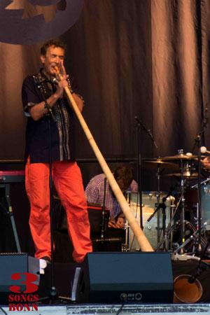 Hubert von Goisern takes an Alpine Horn solo