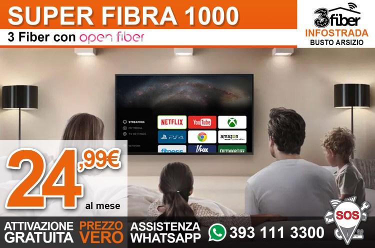 Promozione 3 Fiber con Open Fiber a 24,99€ al mese