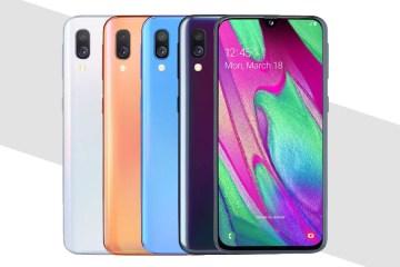 Samsung A40 in diverse colorazioni