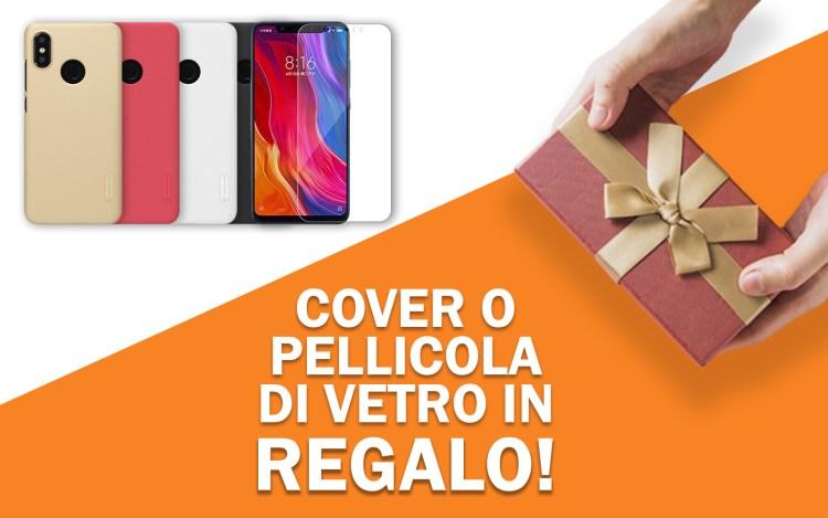 Cover o pellicola di vetro in regalo per Xiaomi Mi 8