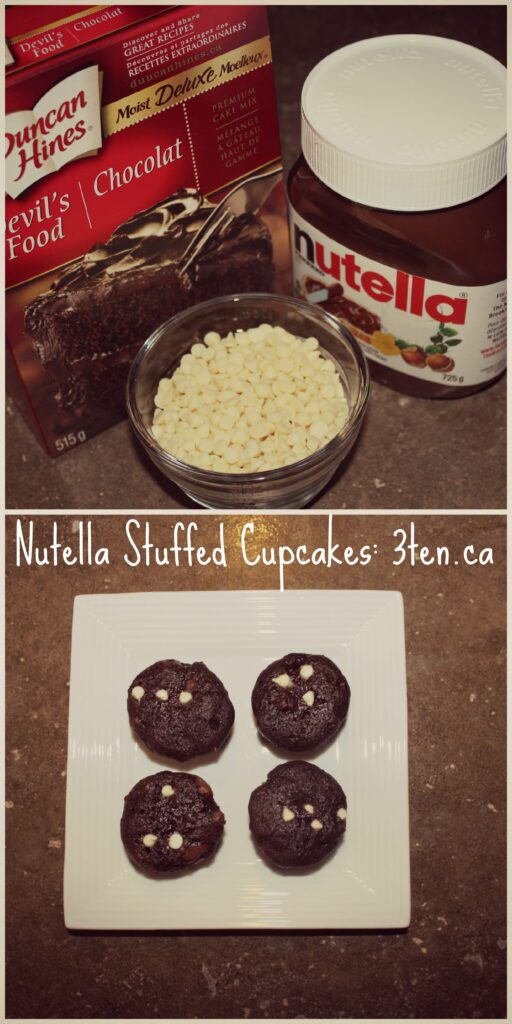 Nutella Stuffed Cupcakes: 3ten.ca #cupcakes #nutella #baking