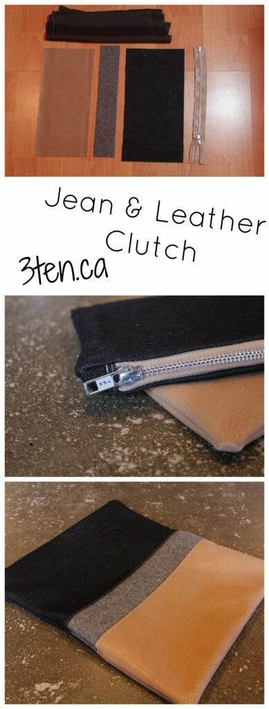 Jean and Leather Clutch: 3ten.ca