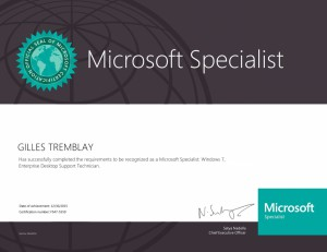 Microsoft Specialist - Windows 7, Enterprise Desktop Support Technician