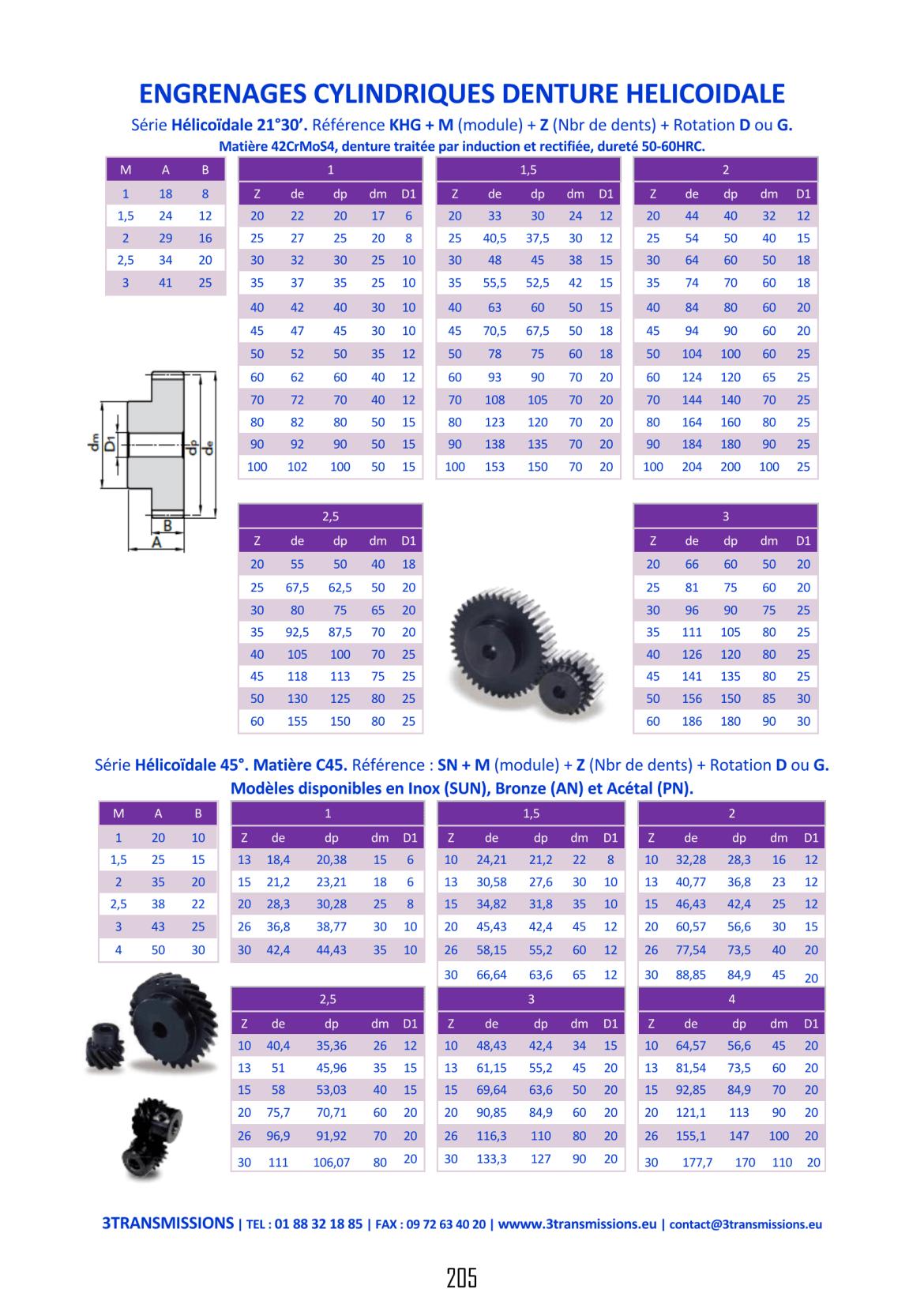 Catalogue 3Transmissions - Engrenages denture hélicoïdale