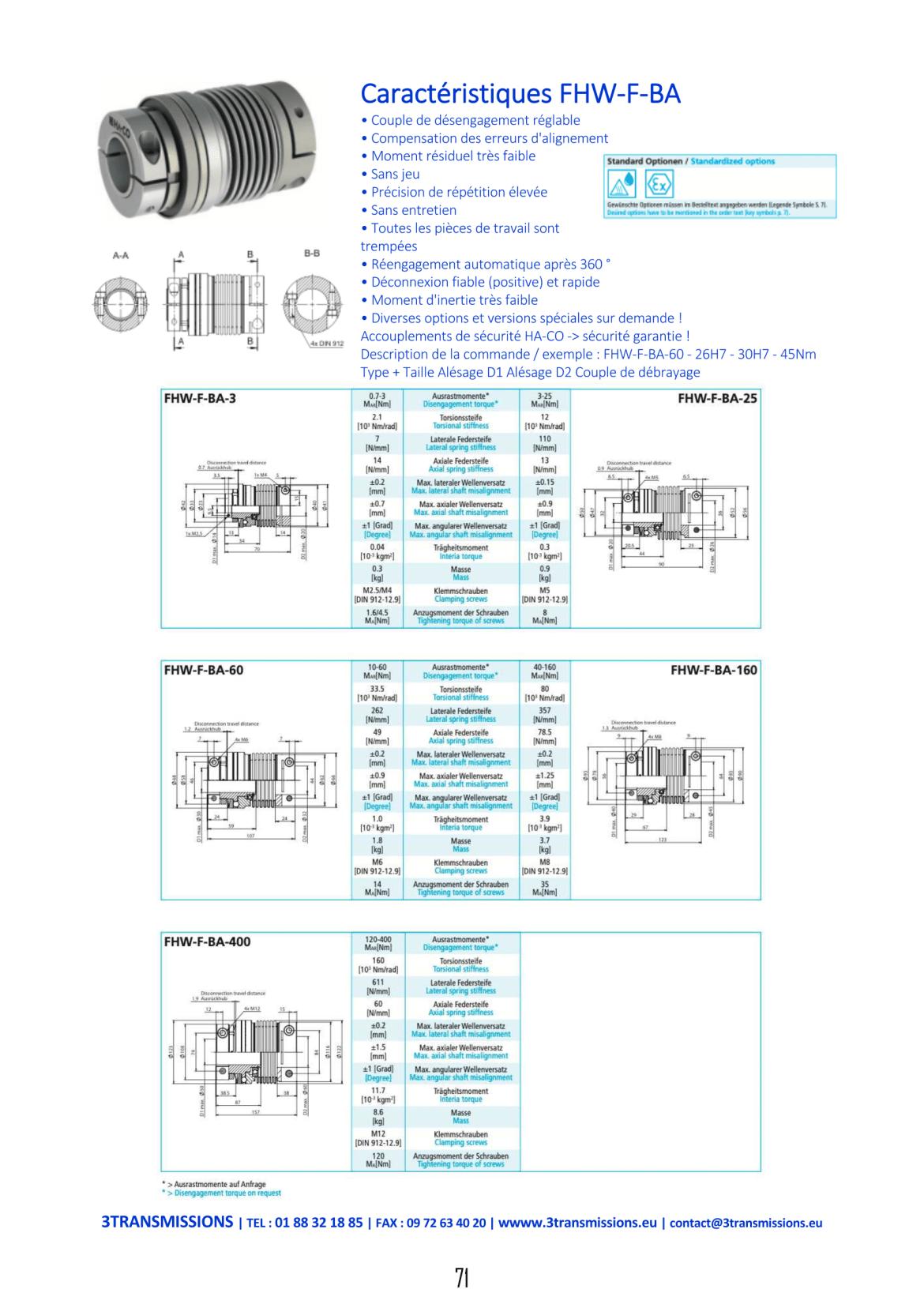 Catalogue 3Transmissions - Limiteur de Couple à soufflet métallique FHWFBA