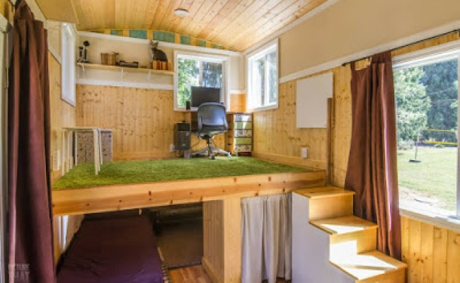 Red Bungalow Tiny House Has A Stand Up Office Loft