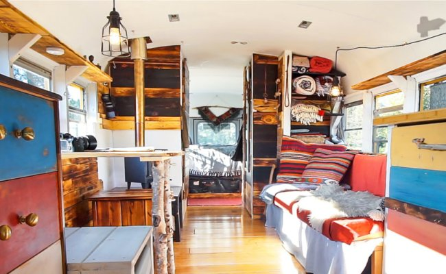 Awesome School Bus Conversion Into Tiny House On Wheels