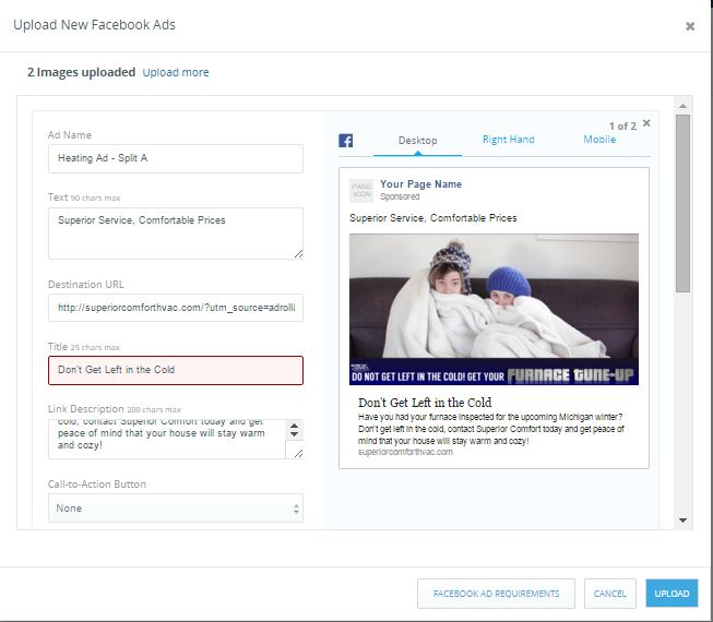 Facebook AdRoll retargeted ad template