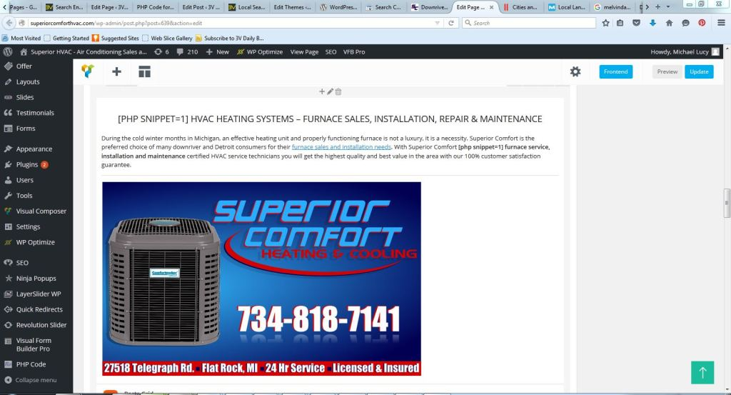 Superior Comfort HVAC php code snippet