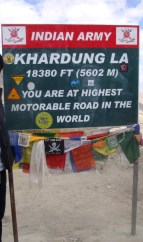 Khardung La Pass - more than 18000 ft high, apparently