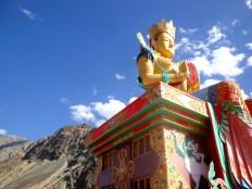 The 106-feet tall Diskit Buddha - Up close
