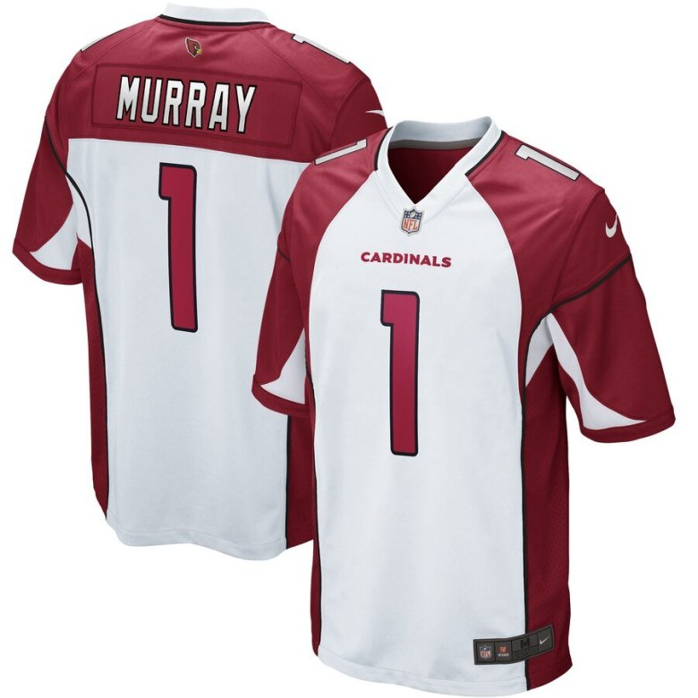 kyler murray jersey in white and red